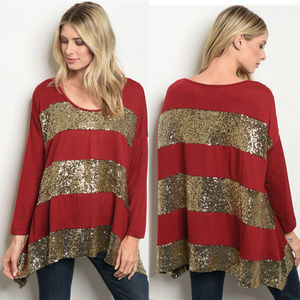 Sweaters - Gold sequins top, Christmas sweater for women